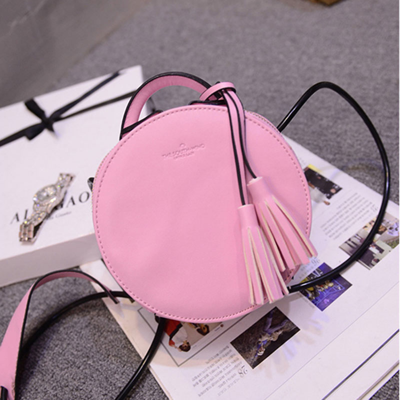 New 2016 Women's Leather Tassel Mini Round Handbag Fashion Ladies Bag Purse Shoulder Bags Small Tote Female Satchel(China (Mainland))
