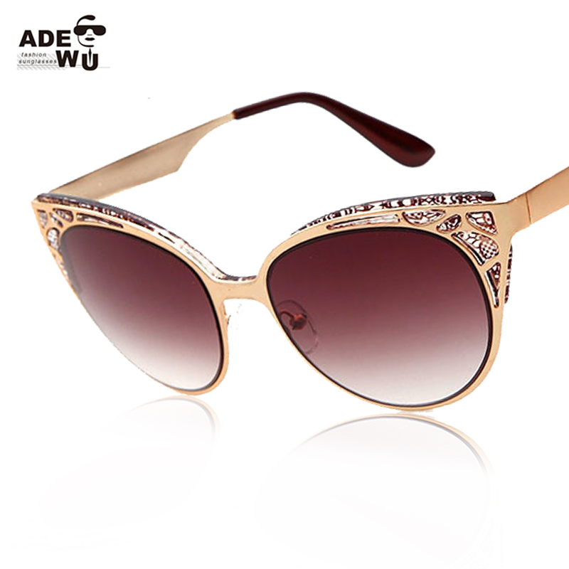 Newest Brand Cat Eye Sunglasses Women Hollow Metal Frame High Quality Sun Glasses Vintage Oculos UV400 oculos de sol feminino(China (Mainland))