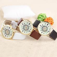 2015 venta caliente nuevo cuero de la llegada de plumas de pavo real de ginebra del reloj para mujeres del cuarzo del reloj mira el envío libre