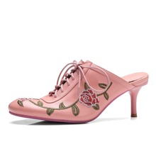 Buy 2017 European round toe mules brand shoes slingback stiletto women slippers embroidery flowers superstar high heels sandals 52 for $55.08 in AliExpress store