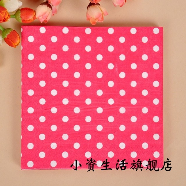 100pcs red polka dot tissue serviettes 33*33cm paper napkins wedding birthday event and holiday party tableware decorations(China (Mainland))