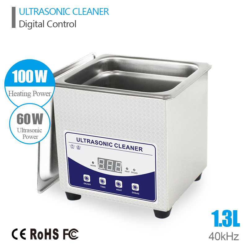 Ultrasonic Bath Cleaning Baskets Jewelry Watches Dental PCB 1.3L 60W 40kHz Ultrasound Cleaner Digital Heated Ultrasonic Cleaner(China (Mainland))
