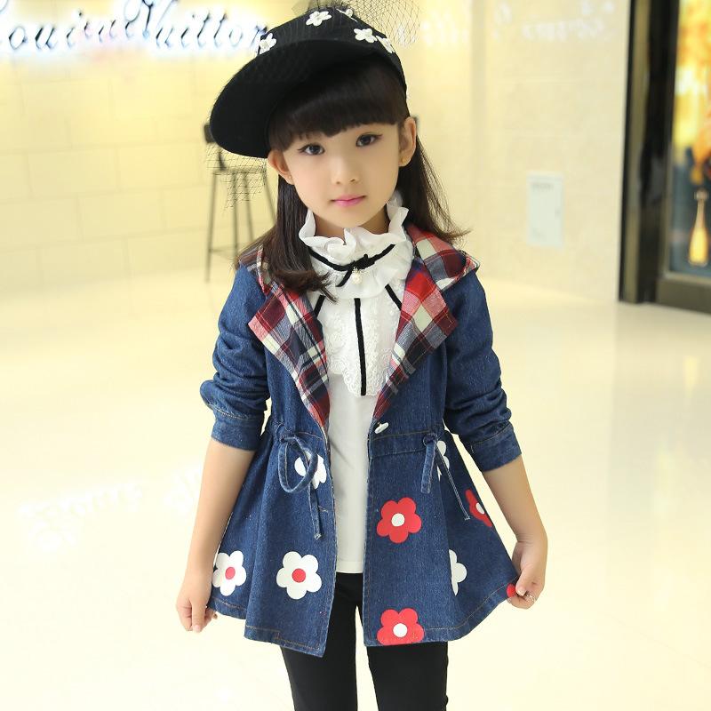 Kids Outwear Long Style Jacket Children Spring Autumn 2016 New Girls Long Sleeved Denim Jacket Coat Flower Print Design Fashion(China (Mainland))