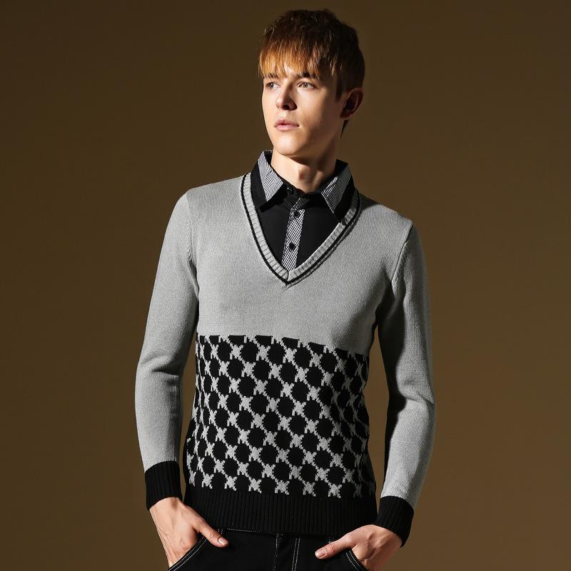 New jacquard modelli di maglieria mens maglione 2015 autunno inverno cashmere maglioni uomo con scollo a v stile della corea degli uomini a maniche lunghe maglione(China (Mainland))
