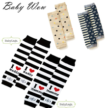 New Baby Knee Pad Protector I Love Mama Papa Black White Striped Anklets Dot Elephant Letter Pattern Baby Leg Warmers tyh-20466