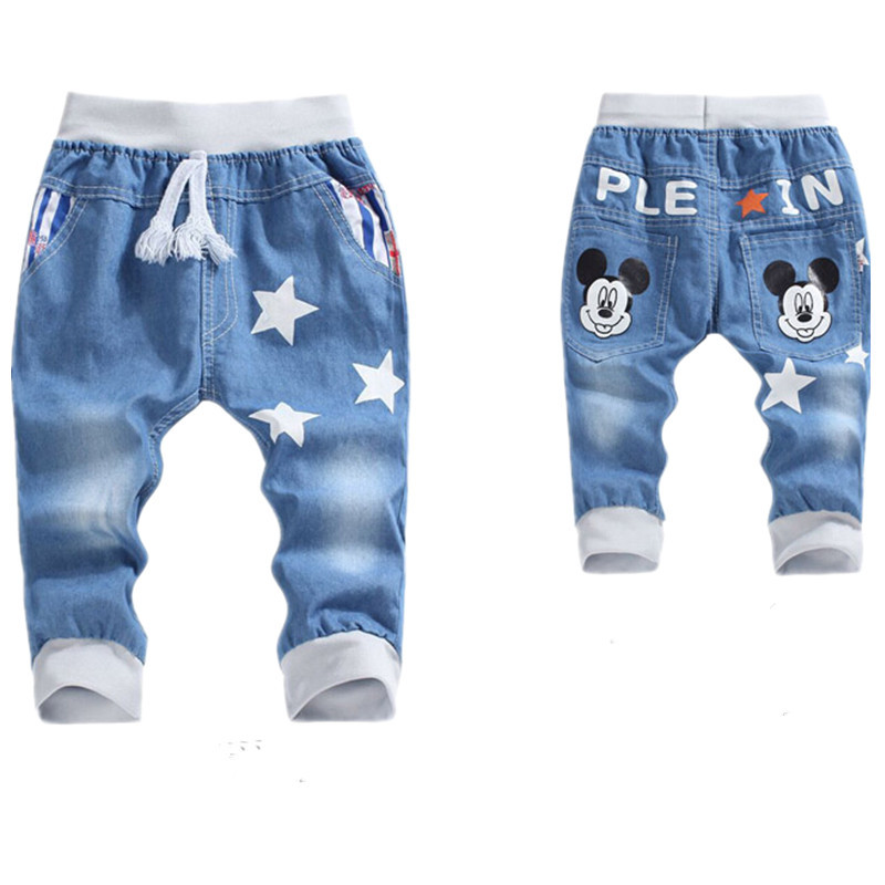 Boys Jeans for Children Fifth Pants for boys Soft Capris trousers 2015 Summer Children's Jeans Kids Elastic Wasit Pant 5T-12T(China (Mainland))