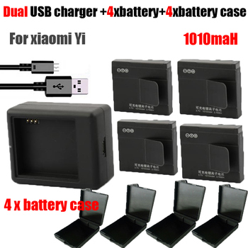 Hot original Xiaomi yi battery 4x 1010mAh yi battery + xiaoyi dual charger For original xiaomi yi action camera accessories
