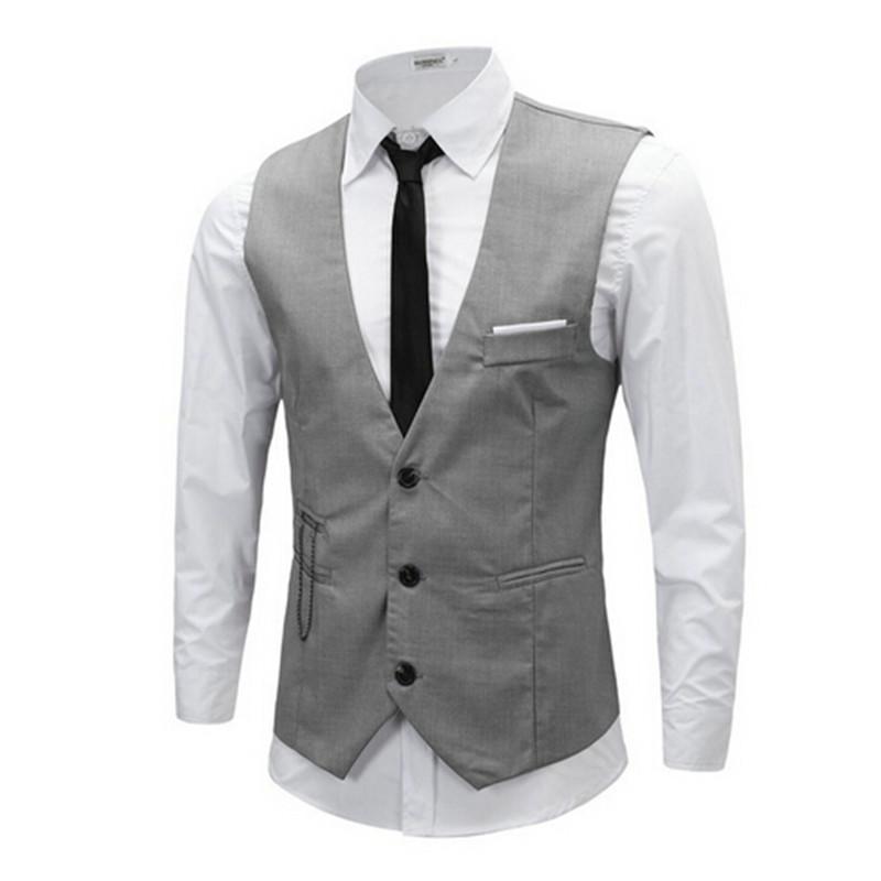 Plus Size 3XL Vest Men 2015 Autumn Slim Brand Men's Slim Dress Business Suit Vest Men Gilet Colete Fashion Waistcoats RHY1110(China (Mainland))