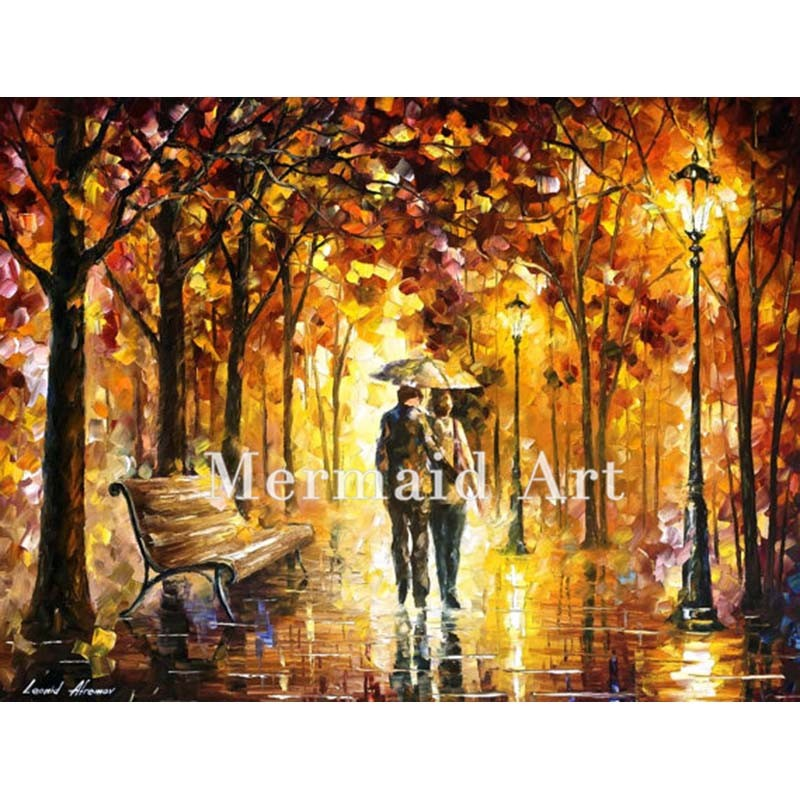Buy Hand Painted Landscape High Quality Abstract Palette Knife Flaming Dance Oil Painting Canvas Decoration Living Room Artwork cheap