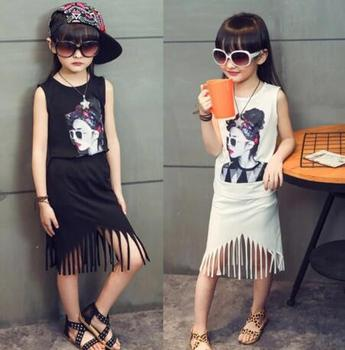 New fashion kids girls summer clothes set tassel clothing set printed shirt with tassel suit for children and kids