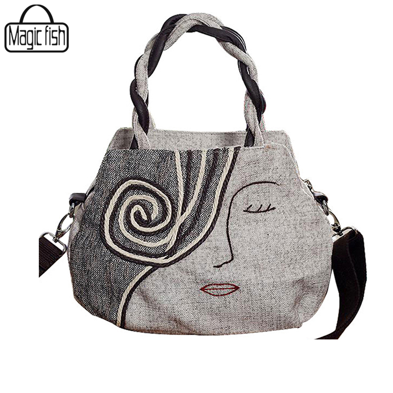 Charm in hands National Wind Women Bag Casual Tote Canvas Women Handbag Embroidery Weave Women Shoulder Bag C0046(China (Mainland))