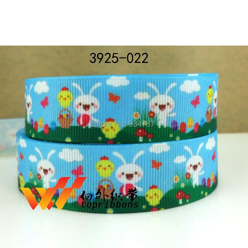 """Easter day ribbon Freeshipping 7/8"""" ribbon 50 yards Fishing animal ribbon printed grosgrain ribbon 3925-022(China (Mainland))"""