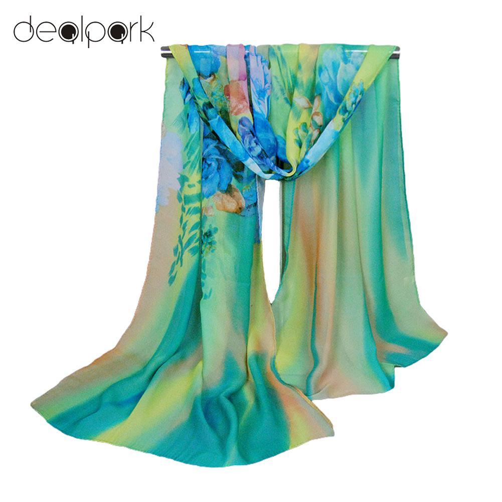 hijab scarf women bandana shawls and scarves wraps pashmina gradient color floral print scarf designer cachecol - Foulard Color