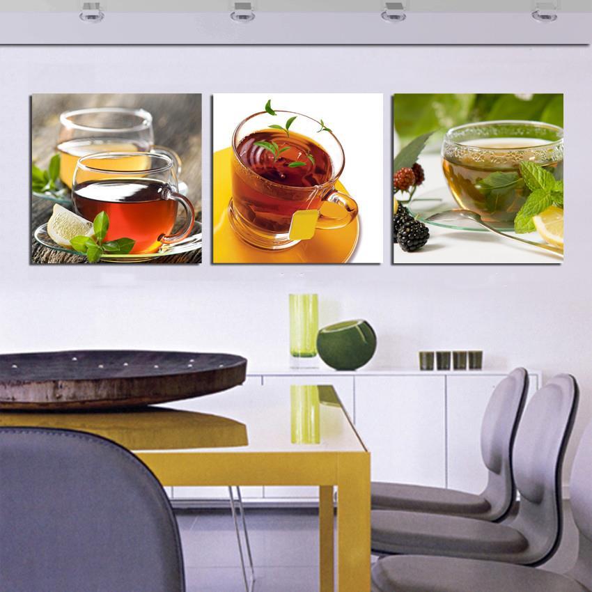 Cheap Hot Kitchen 3 Piece Canvas Wall Art Modern Coffee Wall Tea