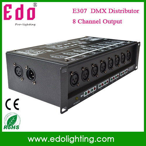 NEW!! 8CH DMX Splitter DMX512 Light Stage Light Signal Amplifier Splitter 8 way DMX Distributor(China (Mainland))