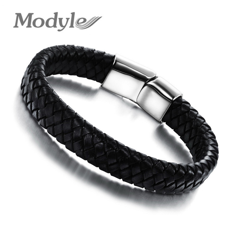 Modyle 2016 Fashion Knitted Genuine Leather Rope Chain Man Bracelets Classical Simple Design Men Jewelry With Magnet Buckle(China (Mainland))