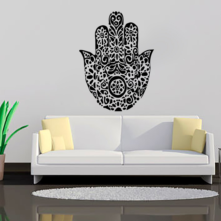 Black Printed Hamsa Hand Wall Decals Art Vinyl Transfer Sticker Living Room Home Decor Indian
