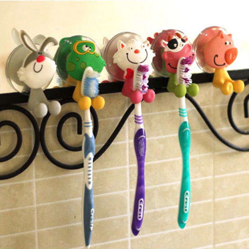 New Arrival Cute Cartoon Animal Suction Cup Toothbrush Holder Bathroom Accessories Towel Holder(China (Mainland))