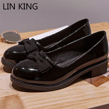 Buy LIN KING Square Heel Women Pumps Casual Round Toe High Heel Shoes Thick Heel Slip Leather Shoes Sweet Bowtie Lady Office Shoe for $14.92 in AliExpress store