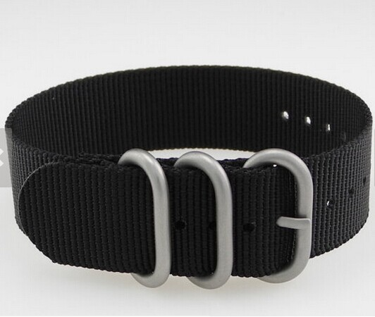 18/ 20/ 22mm Black Heavy Duty Brushed Stainless Steel Ring Buckle Zulu Nylon Military Watch Strap - HH fashion store