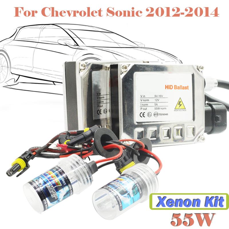 55W HID Xenon Kit Ballast Bulb 3000K 4300K 5000K 6000K 8000K 10000K 15000K Car Headlamp Head Light For Sonic 2012-2014(China (Mainland))