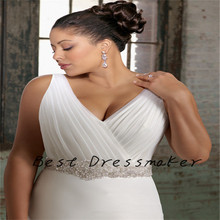 Hot Selling V Neck A line Wedding Dress Diomand Beaded Sash 2016 Robe de Mariage Vestido de Noiva Plus Size Custom Made