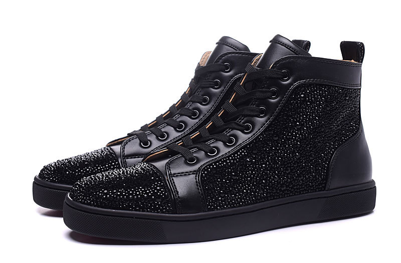 Designer Genuine Leather shoes Black Rhinestone High Top Red Bottom Shoes Men women Unisex Luxury brand Casual Shoe