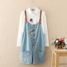 Summer autumn new funny female cute cats embroidery pattern denim jeans overalls women suspenders wide leg Bib short jumpsuit(China (Mainland))