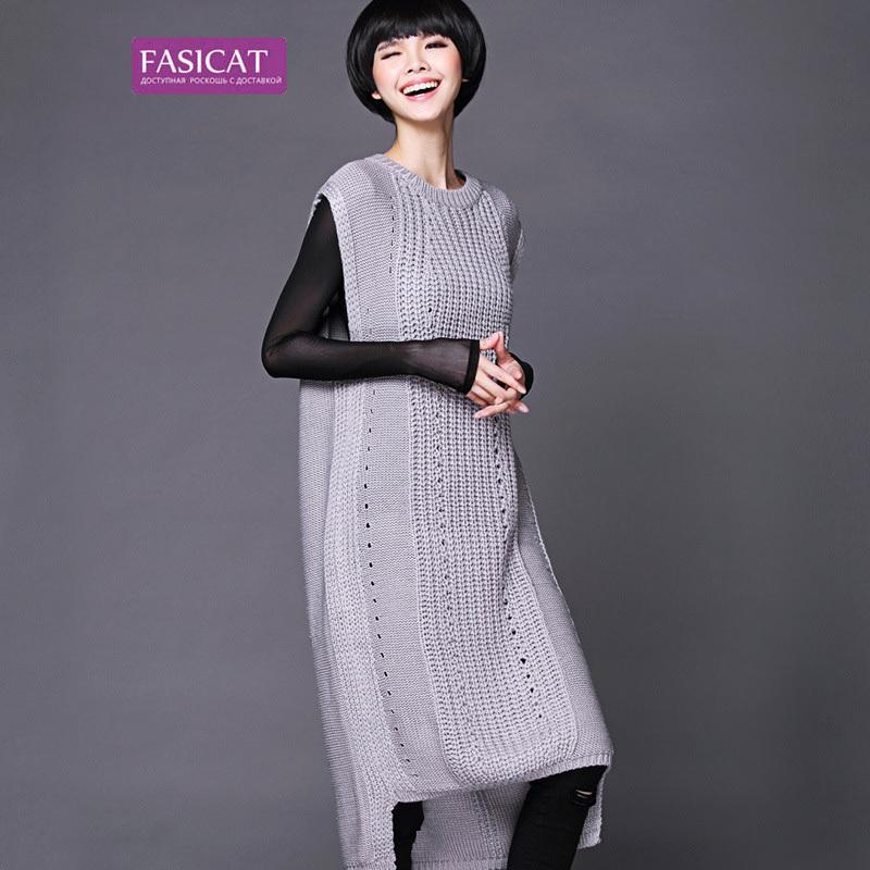 Fasicat New European Brand Style 2015 Fall Women Knitting Pullovers O Neck Sleeveless Loose Thick Sweaters 173781(China (Mainland))