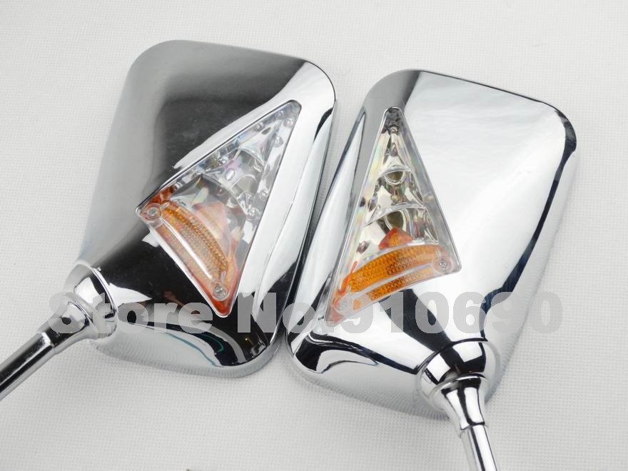 Motorcycle Chrome Rectangle Big Rear View Rearview Side Mirror with Turn Signal Light Indicator Custom 10MM Thread Chopper New(China (Mainland))