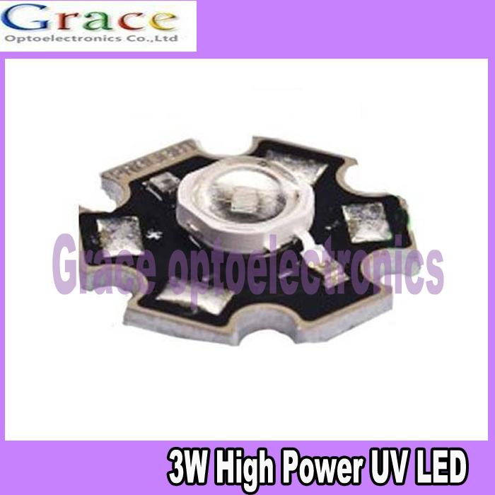 50pcs 3W UV ultraviolet 385-390nm high power LED 3watt purple Light with 20mm star pcb free shipping(China (Mainland))
