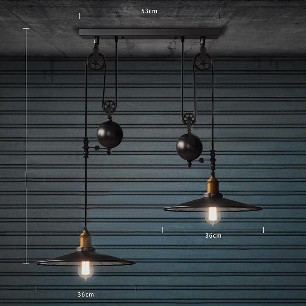 deux t tes rh loft poulie miroir pendentif lumi re lampe e27 incandescente ampoule conomie. Black Bedroom Furniture Sets. Home Design Ideas