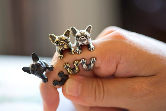 2015 Retro Animal Handmade French bulldog ring Wrap Ring Fashion Antique Gold Silver Vintage Adjustable Rings for women JZ315(China (Mainland))