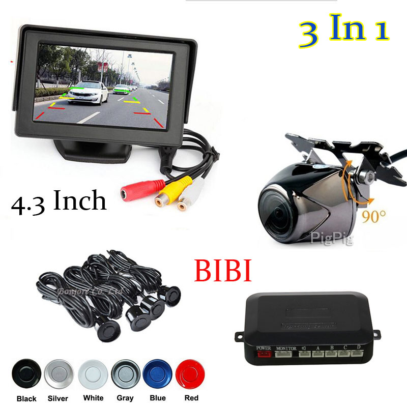 3 in 1 SET Waterproof Car Rear View Camera + Parking Sensor Reverse Radar System + Auto Monitor For DVD 12v Parking Assistance(China (Mainland))