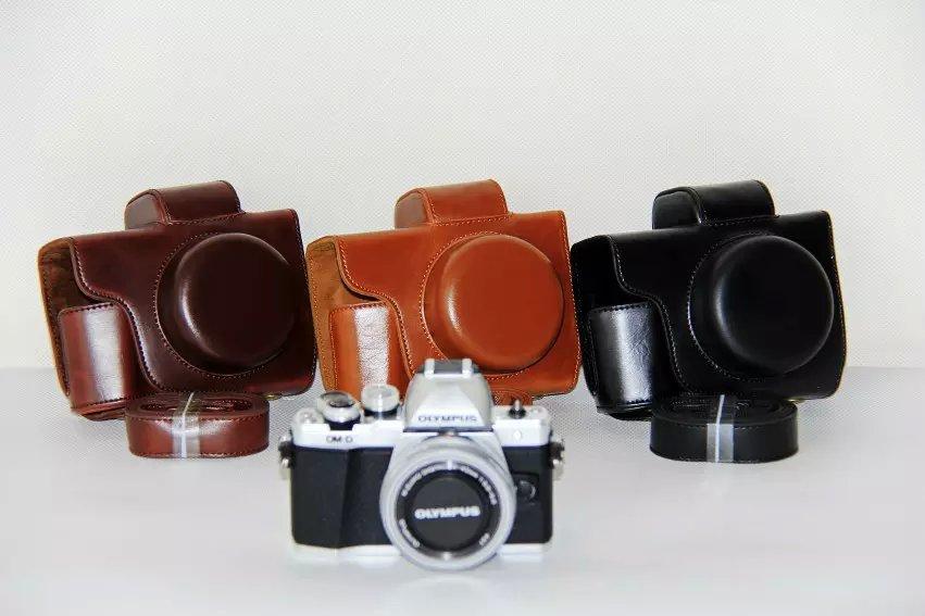 Leather Camera Case For Olympus EM10 II EM-10 II PU Leather Camera Retro Vintage Bag Coffee Black Brown(China (Mainland))