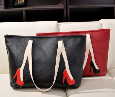 New 2015 women casual handbags fashion high heels pattern handbag Hit Color Shoulder Bag Large Capacity Casual Tote Black Red(China (Mainland))
