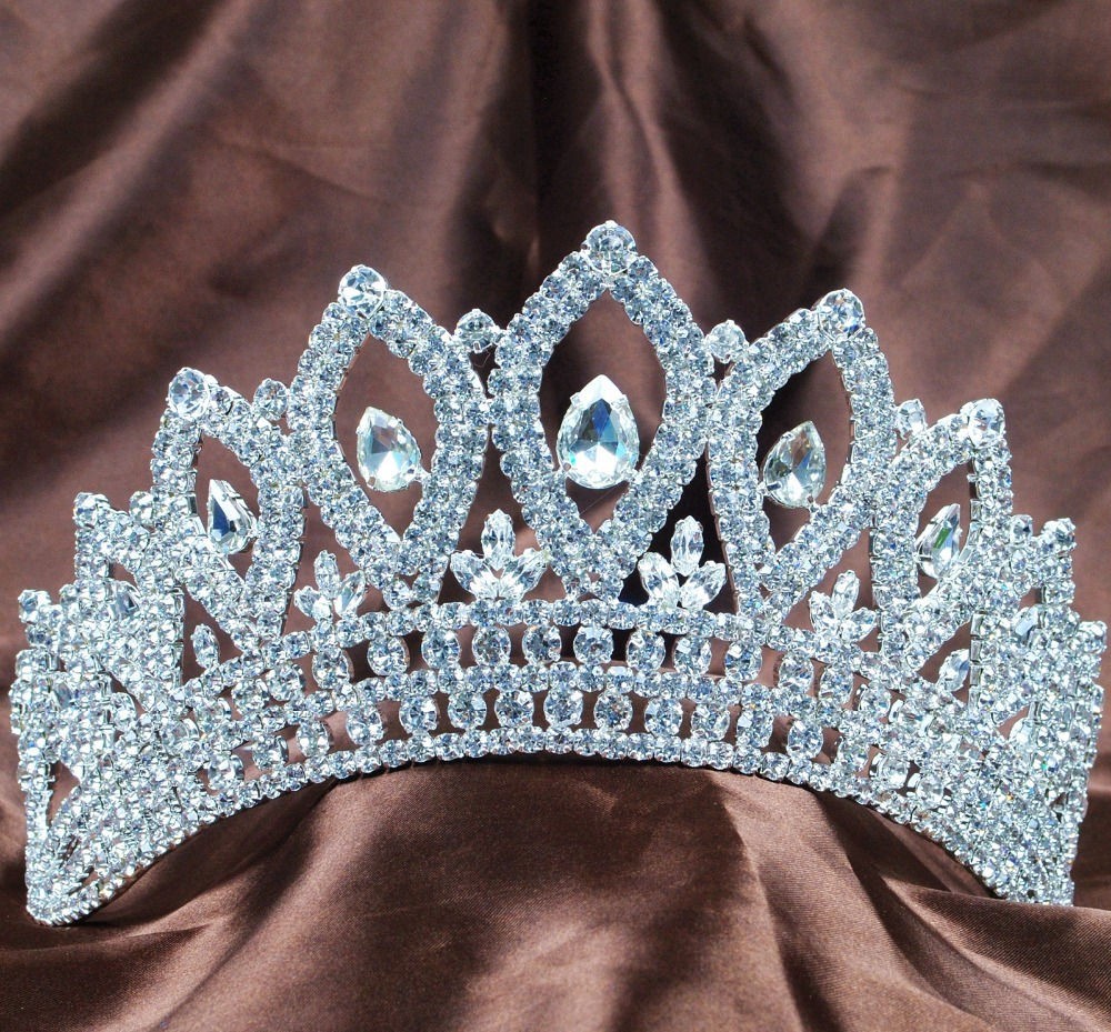 Vintage Tiaras 3.5 Clear Rhinestones Crystal Bridal Wedding Crowns Pageant Party Hairband Silver Fashion Jewelry<br><br>Aliexpress