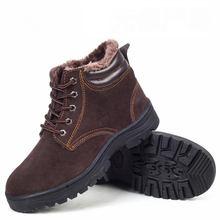 2016 Invierno Nuevas Mujeres de Cuero Genuino Botas de Nieve Del Tobillo de Piel Caliente Zapatos Lace Up Mujeres Zapatos de Seguridad de Trabajo(China (Mainland))