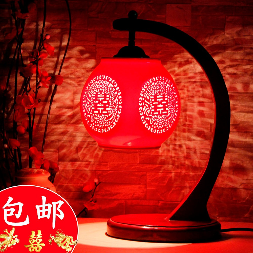 China Jingdezhen ceramic lamp bedroom bedside lamp red creative Chinese wedding celebration gift retro fixtures(China (Mainland))