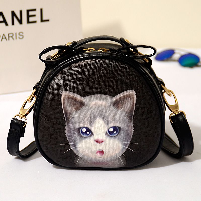 HOT-selling 2016 new Handbag Tide Cat Head Printing Small Round Package Inclined Shoulder Bag women bag(China (Mainland))