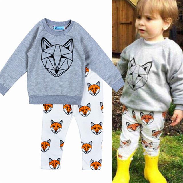 2016 новый Arriveal весной мальчиков комплект одежды печать лиса мальчик одежда мультфильм ...