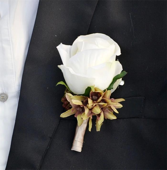 Corsage Flowers White Rose For Grooms Display Suit Men Boutonniere