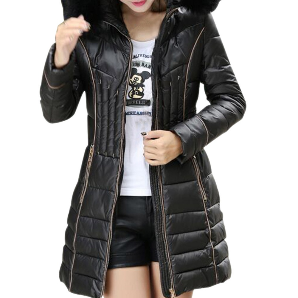 2015 Winter New Women's Parka Fashion Long Style Slim Thin Hooded Cotton Jacket Coat Fur Collar Overwear