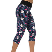 2016 Women High Quality capris High Waisted Floral Printing Pants Lady's Fitness Workout  Sport  Gym Leggings 21 Colors(China (Mainland))