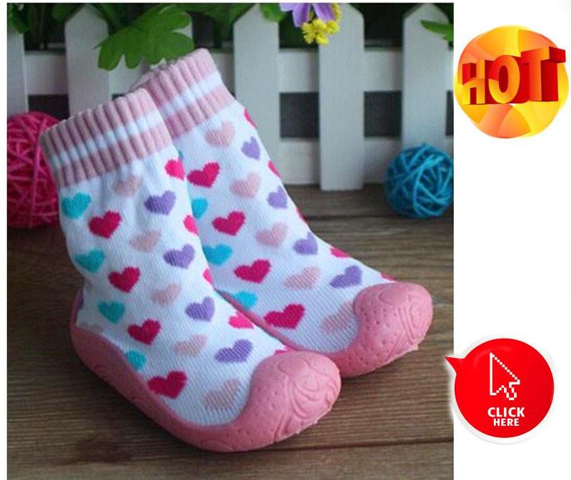 Children Floor Socks Anti-Slip Soft Bottom Shoes Breathable Cotton Socks Toddler Girl  With Rubber Soles Kids Boots Socks Ws934