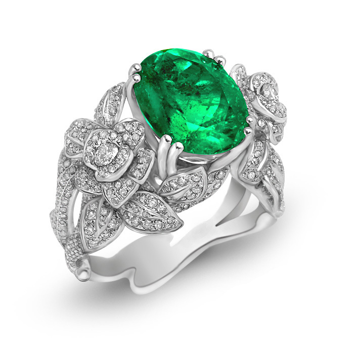 Qi Xuan_Fine Jewelry_Boutique Emerald Stones Rings_S925 Sliver Plated 18KPG Gold Rings_Manufacturer Directly Sales(China (Mainland))