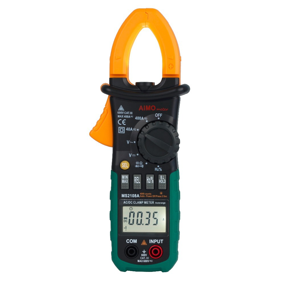 Aimometer MS2108A Auto Range Digital Clamp Meter Multimeter 400A AC DC Current Voltage Frequency Capacitance Tester Worklight(China (Mainland))