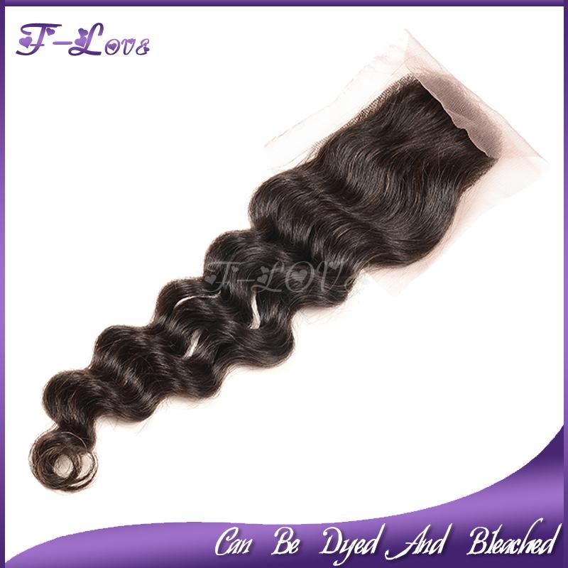 6A brazilian virgin hair deep wave closure 4*4,Top lace closure Bleached knots Middle/Free part 1pc natural color Swiss lace<br><br>Aliexpress