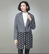 2015ladie winter coat polka dot cocoon coat women long wool swing loose feminino longo casual pea coat plus size overcoat trench