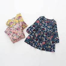 Floral Girls Dress Autumn 2016 Fashion Kids Clothes Girls Full Sleeve Cotton Dress Button Navy Dress for Kids Chidren Dress(China (Mainland))